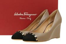 NEW SALVATORE FERRAGAMO LADIES LEATHER LOGO CHAIN WEDGE PLATFORM SHOES 8.5 C
