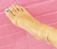 Beautiful  unique adjustable Sterling silver sep Anklet chain crystals adorned