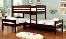 NEW RANFORD ESPRESSO FINISH WOOD TRIPLE TWIN/TWIN/TWIN CORNER BUNK BED
