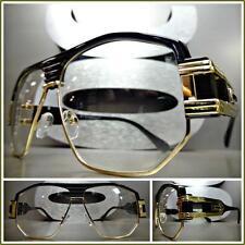 Men CLASSIC VINTAGE RETRO HIP HOP RAPPER Clear Lens EYE GLASSES Black Gold Frame