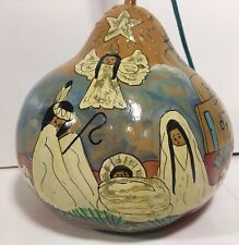 Pueblo Indian Nativity Scene Gourd Painted God Orange Native American Christmas