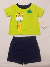NWT - Boy's Infant/Newborn Lime Green & Navy Blue Shorts Outfit/Set  Sz. 3/6 mth