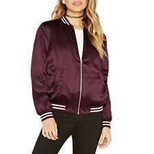 Womens Bomber Jacket Vintage Baseball Coat Ladies Overcoat Classical Biker Coat