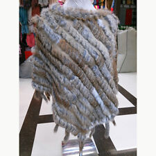 Real Natural Knitted Rabbit Fur Tassel Cape Stole Shawl Poncho Scarf Wrap Coat