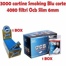 3000 CARTINE SMOKING BLU CORTE br / 4080 FILTRI OCB SLIM 6MM