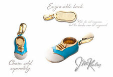 Gold Plated Blue Baby Shoe Pendant  003-g