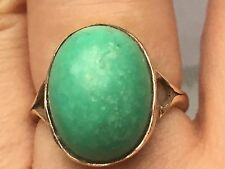 Antique hallmark 9ct gold turquoise gold ring-uk size N,4.8g