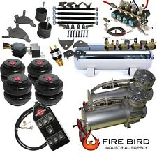"Chevy S10 Air Kit 5gal 2500 Bags 1/2"" Valve Black AVS 7 Switch Fittings xzx"