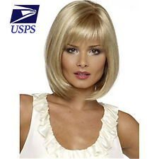 Light Blonde DIY Sexy Straight  Women Heat Resistant Hair Wig Short Cosplay Part