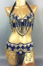 Belly dance costume set outfits 2pics handmade dancing bra top +belt hip scarf