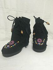 Betsyville black leather moccasin boots beaded size 9