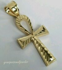 Solid 14k yellow Gold diamond cut Egyptian Cross ankh Pendant 1.50 inch long