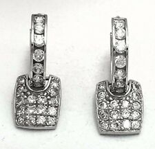 WHITE SAPPHIRE 1.50 Carats EARRINGS 14K WHITE GOLD HUGGIES  *Free shipping*
