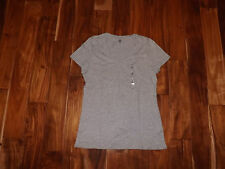NEW Womens TOMMY HILFIGER V-Neck Gray Heather Short Sleeve Shirt Size XL X-Large