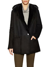 Vince Black Genuine Shearling Hooded Coat  Size:M $2395 NWT