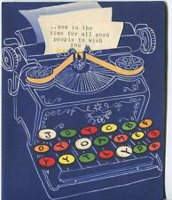 VINTAGE BLUE OLD MANUAL TYPEWRITER TYPING KEYS DIE CUT BIRTHDAY GREETING CARD
