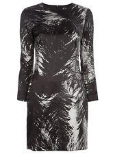 McQ Alexander McQueen Gossip Girl Feather Print Satin Dress 44 6 8