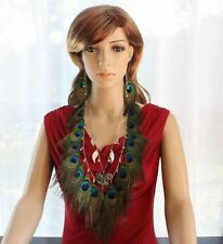 11A1-4 Bead Butterfly  Peacock Feather Earrings & Necklace Set XJW130227