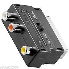 Scart zu 2x Audio-Cinch und 1x Video-Cinch Adapter mit Umschalter