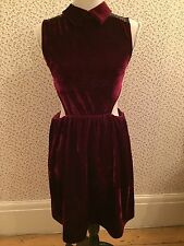 Nana Wine Red Velvet Style Dress With Lace Back, Collar + Cut Out Waist Size 10