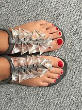 Dune Flat Toe Post Ankle Strap Plastic Triangles Evening Sandals UK 5