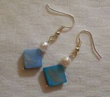 Hand made blue diamond mother of pearl shell silver plated earrings +stoppers