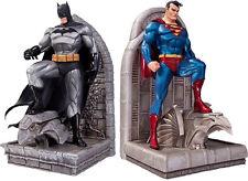 """BATMAN & SUPERMAN ~ 8.75"""" Cold-Cast Porcelain Bookends Set (2) by DC Comics #NEW"""