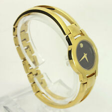 Movado Amorosa yellow gold stainless steel #88 E4 1842 bangle watch 24 MM ladies