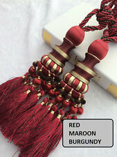 "11"" Luxury Curtain Drapery Tassel Tieback Holdback Large RED BURGUNDY GOLD Beads"