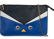 Navy Blue Colour Block Clutch Bag with Face