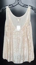 J CREW SIZE 8 SEQUIN DRIZZLE TANK TOP NWT RETAIL $148 BEIGE SOLD OUT