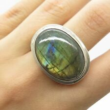 Vtg 925 Sterling Silver Large Real Labradorite Gemstone Men's Ring Size 7.5