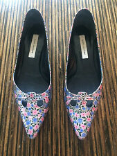 MARC JACOBS mouse flats metallic floral blue pink silver Size 40 US 9
