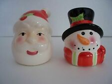Ceramic Santa & Snowman Heads SALT & PEPPER SHAKER Christmas Holiday