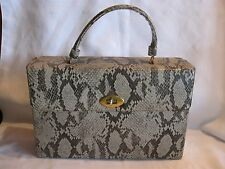 Vintage Comeco Style Cosmetic Box Purse Train Travel Bag Faux SNAKESKIN