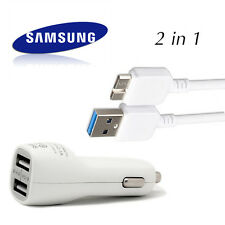 OEM Micro USB Cable + 2.1A Dual Car Charger Adapter for Samsung Galaxy Note3 S5