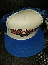Vintage Pac-Man Patch Mesh Trucker Hat Snapback Cap 1981 Blue White Vintage