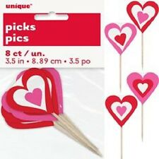 8 x HEARTS Red DECOR PICKS Cupcake Sandwich Flag Party Valentine's Wedding Day