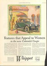 1927 WHIPPET CABRIOLET COUPE  ORIG VINT CAR  AD