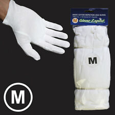 Size Medium - 12 Pairs White Coin Jewelry Silver Inspection Cotton Lisle Gloves