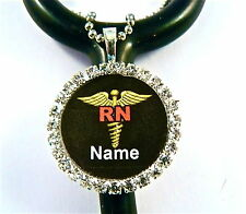 ID STETHOSCOPE NAME TAG BLING CHARM,CADUCEUS, RN NURSE,FITS ALL INCL. LITTMANN