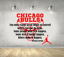 Michael Jordan Quote Basketball Chicago Bulls Bedroom Wall Art Sticker/Decal