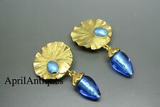 Vintage Yves Saint Laurent YSL Rive Gauche blue foiled glass drop earrings