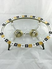 Inland Glass Platter w/Drip Well & Warming Stand Atomic Snowflake SHIP INCL
