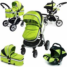 iSafe 3 in 1  Pram System - Lime Travel System + Carseat