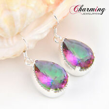 Christmas Gift Teardrop Rainbow Mystical Fire Topaz Gemstone Silver Earrings