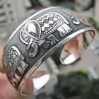 New Tibetan Tibet silver Totem Bangle Cuff Bracelet Elephant Women Punk Style