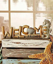 "Seahorse Drift Wood Welcome Sign Figurine Decor 14""x 5"" Coastal Nautical Decor"