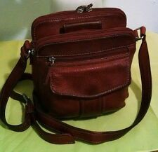 """Womens Vintage Small Rustic Red Leather """"Fossil"""" Messenger Cross Body Bag Purse"""