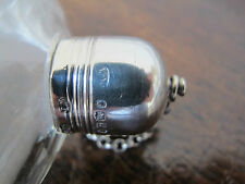 UNUSUAL ANTIQUE HALLMARKED STERLING SILVER MOUNTED GLASS HIP FLASK - 1873